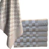 Homéé® Blokdoeken - Pompdoeken - Theedoeken bruin / wit - set van 12 stuks - 65x65cm
