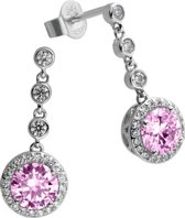 Diamonfire - Zilveren oorhangers Fancy Colors - Zirkonia - Roze - Rond - Entourage