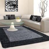 Hoogpolig shaggy vloerkleed 80x250cm antraciet lijstmotief