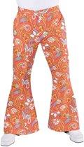 Hippie Kostuum | Hippie Broek Paisley Oranje Man | Medium | Carnaval kostuum | Verkleedkleding