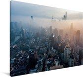 Wolkengordijn over Beijing Canvas 120x80 cm - Foto print op Canvas schilderij (Wanddecoratie woonkamer / slaapkamer)