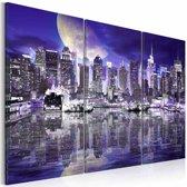 Schilderij - New York City in spiegelbeeld, Paars/Blauw, 2 Maten, 3luik