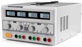 DUBBELE DC-LABOVOEDING - 2 x 0-30 VDC / 0-3 A + 5 VDC vast / 3 A MAX MET 4 LCD-SCHERMEN