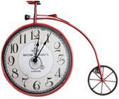 Metalen klok fiets rood