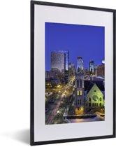 Foto in lijst - Foto van Minneapolis in het noorden van de Verenigde Staten fotolijst zwart met witte passe-partout 40x60 cm - Poster in lijst (Wanddecoratie woonkamer / slaapkamer)