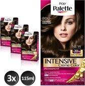Schwarzkopf Poly Palette 800 Donkerbruin Haarverf - 3 stuks - Voordeelverpakking - intensieve, natuurlijke kleuren met 100% grijsdekking