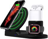 3 in 1 Fastcharge Dock Snelle Draadloze Oplaadstandaard Cradle Set | Qi 3 in 1 | QI Lader | geschikt voor Apple Watch 4 / 3 / 2, Apple Airpods, iPhone XS / XR / XS MAX / 8 Plus, Samsung S9/S10 +/Note 9, Mate 20 Pro / P30 - zwart