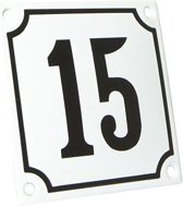 Emaille huisnummer wit/zwart nr. 15 10x10cm