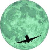 Glow in the dark Maan muursticker met vliegtuig lichtgevende sticker kinderkamer versiering