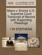 Marrs V. Emrick U.S. Supreme Court Transcript of Record with Supporting Pleadings