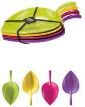 Zak!Designs Fulla Amuselepel - Blaadjes - 7,5 cm - Flora - Set van 4 stuks