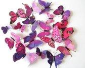 3D Vlinders Muursticker / Muurdecoratie Voor Kinderkamer / Babykamer / Slaapkamer - Sticker Paars