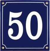 Emaille huisnummer blauw nr. 50