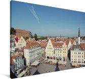Foto vanuit de lucht van het Stadshart van Tallinn Canvas 60x40 cm - Foto print op Canvas schilderij (Wanddecoratie woonkamer / slaapkamer)