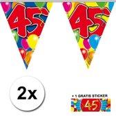 2x vlaggenlijn 45 jaar met gratis sticker