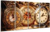 Glasschilderij Klok | Bruin, Crème, Oranje | 160x80cm 4Luik | Foto print op Glas |  F006085