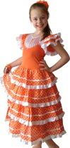 Spaanse jurk - Flamenco - Oranje/Wit - Maat 116/122 (8) - Verkleed jurk Koningsdag
