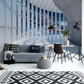 Fotobehang Spaceship 3D Modern Architecture View | V4 - 254cm x 184cm | 130gr/m2 Vlies