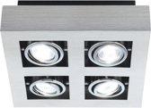 EGLO Loke Opbouwlamp - 4 Lichts - Aluminium-Geborsteld, Chroom, Zwart
