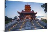 De toren van het Foshan park tijdens de avond Aluminium 180x120 cm - Foto print op Aluminium (metaal wanddecoratie) XXL / Groot formaat!