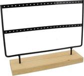 Sieradenhouder - Display voor Sieraden - Oorbellenrek - Hout en Metaal - 27x22x7 cm - Zwart - Dielay