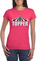 Circus shirt Topper roze met witte letters voor dames XL