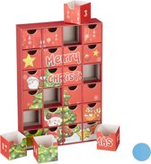 relaxdays adventskalender om zelf te vullen - 24 lege boxen - kerst kalender - advent rood