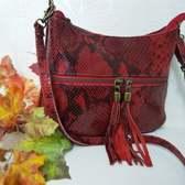 Made in Italia tas met Slangenprint/Echt Leren Schoudertas  Clutch Rode tas Dames tas rood