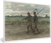 Foto in lijst - Maaiers - Schilderij van Jozef Israëls fotolijst wit 60x40 cm - Poster in lijst (Wanddecoratie woonkamer / slaapkamer)