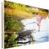 Roze lepelaar vliegt naar zijn nest Vurenhout met planken 80x60 cm - Foto print op Hout (Wanddecoratie)