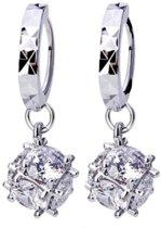 Geshe®-Zilveren oorbellen met dobbelsteentjes oorhangers kristals oorbellen dames bling bling Echt zilveren oorhangers, 925 sterling zilver d8mm Your Fashion Signature!-Eco verpakking