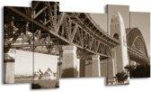 Schilderij | Canvas Schilderij Steden | Sepia | 120x65cm 5Luik | Foto print op Canvas