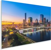 Brisbane na een kleurrijke zonsondergang in Australië Plexiglas 180x120 cm - Foto print op Glas (Plexiglas wanddecoratie) XXL / Groot formaat!