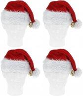 4x Luxe pluche kerstmutsen met bel