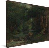 Een beek in het bos - Schilderij van Gustave Courbet Canvas 40x30 cm - klein - Foto print op Canvas schilderij (Wanddecoratie woonkamer / slaapkamer)