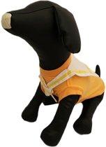 Wit met oranje marine shirt voor de hond - M ( rug lengte 28 cm, borst omvang 40 cm, nek omvang 24 cm )