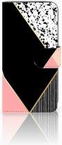 LG K11 Uniek Boekhoesje Black Pink Shapes