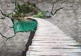 Fotobehang Nature Lake Path | XXXL - 416cm x 254cm | 130g/m2 Vlies