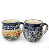 Bunzlau keramiek 2 beker-set (bolvorm) dessin Blauwe vlinder en Adelheid 280 ml