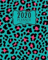 2020 Planner Weekly And Monthly: 2020 Planner January To December - 8x10 Size - Calendar Views And Vision Board - Teal And Pink Animal Print Cover