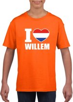 Oranje I love Willem shirt kinderen - Oranje Koningsdag/ Holland supporter kleding XS (110-116)