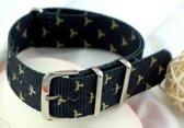Premium Design Print Black Fly - Nato strap 20mm - Horlogeband Zwart