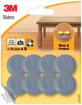6x 3M Sliders, Move & Protect, diameter van 25mm, blister a 8 stuks