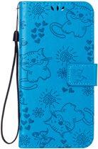 Apple Iphone 7 / 8 Bookcase hoesje poesjes (Blauw)