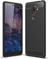 Nokia 7 Plus Geborsteld TPU Hoesje Zwart