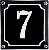 Zwart emaille huisnummer  - 7