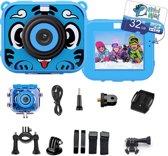 Afbeelding van Digitale Kindercamera - videos en fotos maken - waterdicht - LCD scherm - Nederlandse handleiding - inclusief 32 GB SD kaart en accessoires - blauw - nieuw 2019 speelgoed