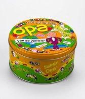 Snoeptrommel Opa gevuld met verse dropmix in cadeauverpakking met gekleurd lint