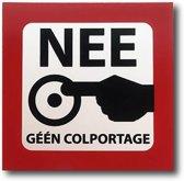 bordje NEE Geen Colportage aluminium sticker bordje 5 jaar garantie Geen verkopers | bel niet aan sticker bordje geen energie advies | nee nee sticker bordje 55 mm x 55 mm.
