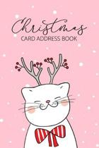 Christmas Card Address Book: Kitty Cat 6 Year Holiday Greeting Card Organizer Planner Notebook